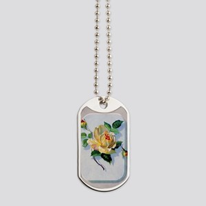 yellow rose vintage image graphicsfairy00 Dog Tags