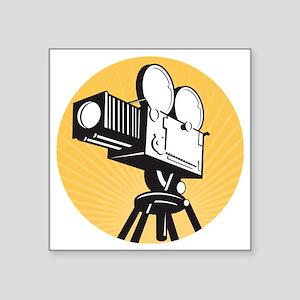 "vintage movie film camera r Square Sticker 3"" x 3"""