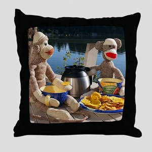 Morning Coffee - Red Heel Sock Monkey Throw Pillow