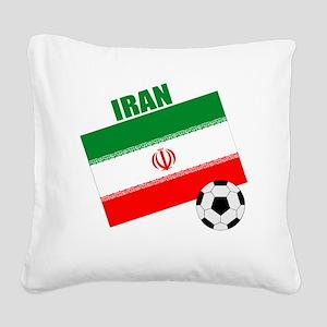 Iran soccer  ball drk Square Canvas Pillow
