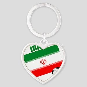 Iran soccer  ball drk Heart Keychain