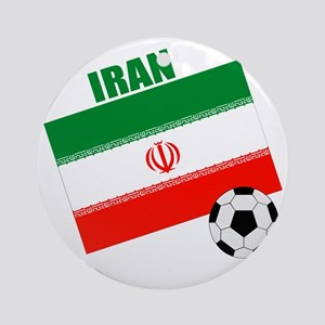 Iran soccer  ball drk Round Ornament