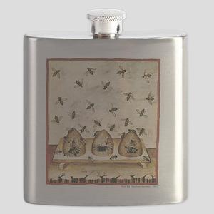 Medieval Bees in Skeps Flask