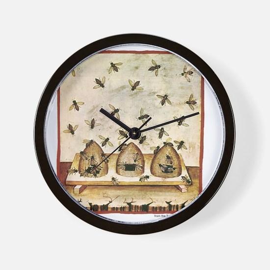 Medieval Bees in Skeps Wall Clock