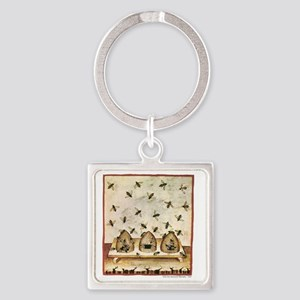 Medieval Bees in Skeps Square Keychain