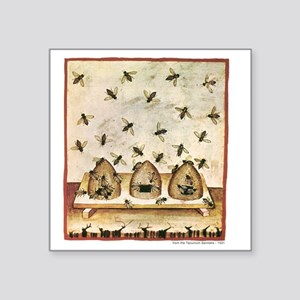 "Medieval Bees in Skeps Square Sticker 3"" x 3"""