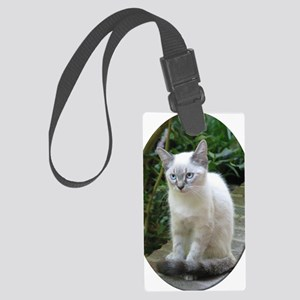 Blue Eyed Kitten oval mat.p... Large Luggage Tag