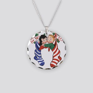 Vintage Christmas Stockings Necklace Circle Charm