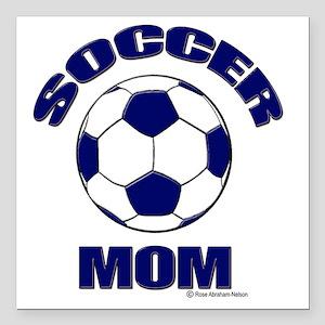 "Soccer Mom Blue Square Car Magnet 3"" x 3"""