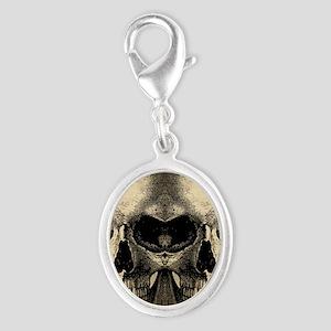 vintage_skull_flipflops Silver Oval Charm