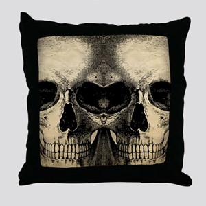 vintage_skull_flipflops Throw Pillow