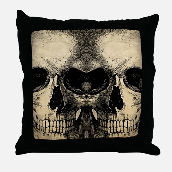 vintage_skull_flipflops Throw Pillow