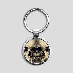 vintage_skull_flipflops Round Keychain