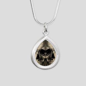 vintage_skull_flipflops Silver Teardrop Necklace