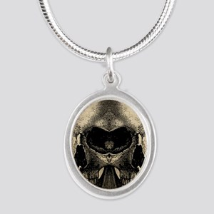 vintage_skull_flipflops Silver Oval Necklace