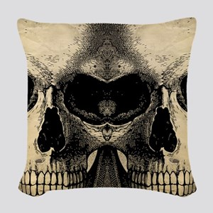 vintage_skull_flipflops Woven Throw Pillow