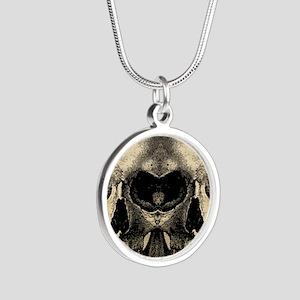 vintage_skull_flipflops Silver Round Necklace