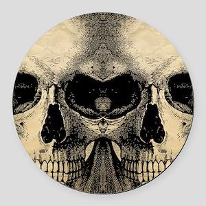 vintage_skull_flipflops Round Car Magnet