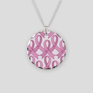 PinkRibnDotStMPtr Necklace Circle Charm