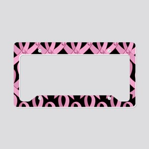 PinkRibnDotStLapTcB License Plate Holder
