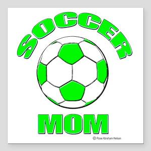 "Soccer Mom florecent G D Square Car Magnet 3"" x 3"""