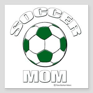 "Soccer Mom Green for dar Square Car Magnet 3"" x 3"""