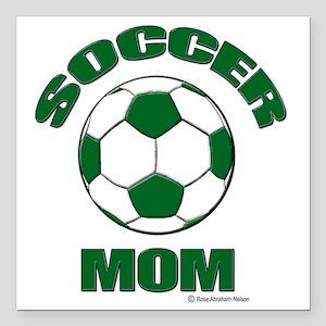 "Soccer Mom Green Square Car Magnet 3"" x 3"""