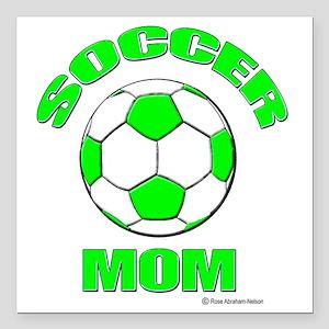 "Soccer Mom florecent Gre Square Car Magnet 3"" x 3"""