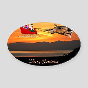 Christmas Card 1FullsizeBorder Oval Car Magnet