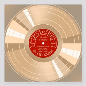 """gold-record-CRD Square Car Magnet 3"""" x 3"""""""