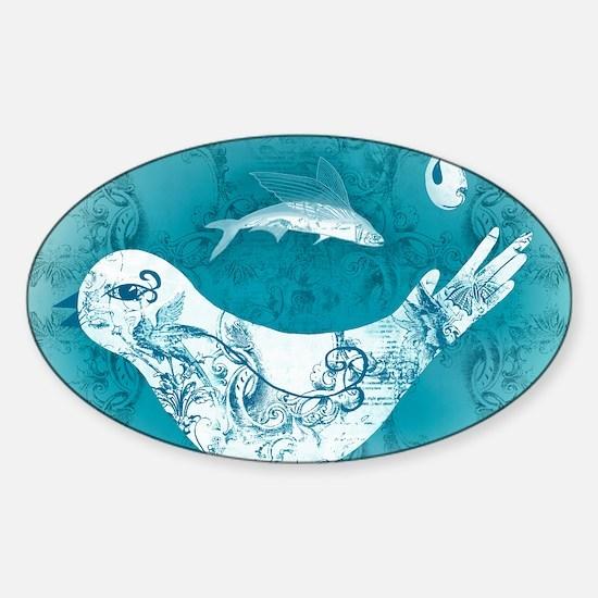 oiseau-bleu-et-fond-lore-m-fus-post Sticker (Oval)