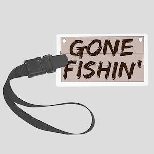 gone fishin_dark Large Luggage Tag