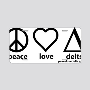 peace_love_delts_black_fina Aluminum License Plate