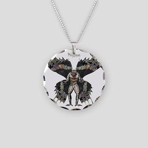 Mothman3 Necklace Circle Charm