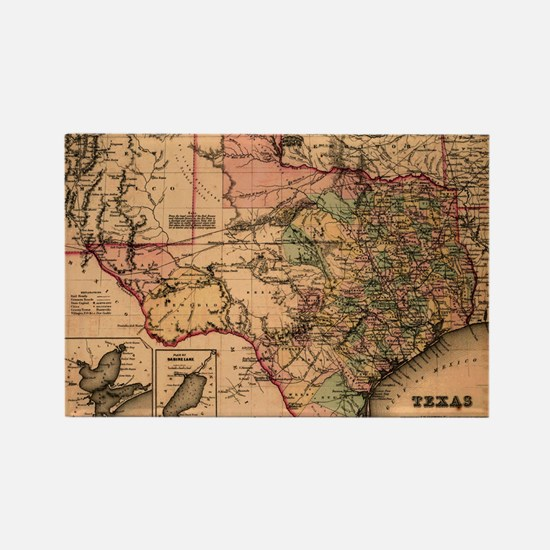 1855 Map of TX Rectangle Magnet