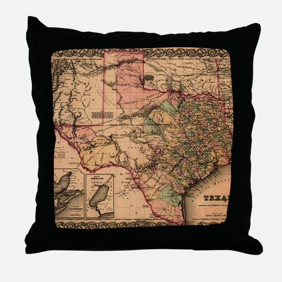 1855 Map of TX Throw Pillow