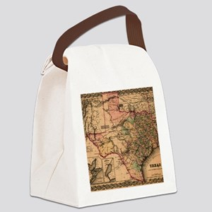 1855 Map of TX Canvas Lunch Bag
