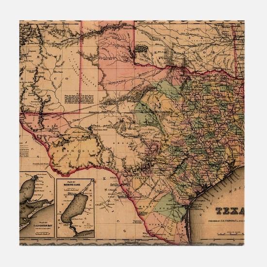 1855 Map of TX Tile Coaster