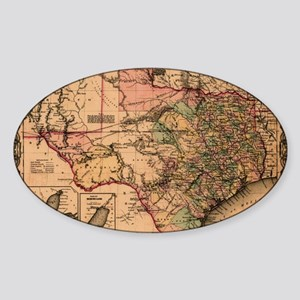1855 Map of TX Sticker (Oval)