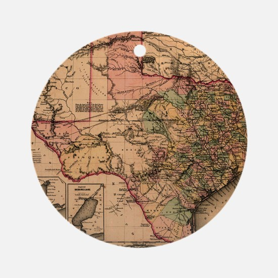 1855 Map of TX Round Ornament