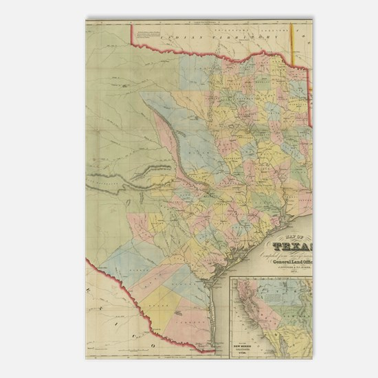 1851 Map of Texas Postcards (Package of 8)