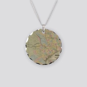 1851 Map of Texas Necklace Circle Charm
