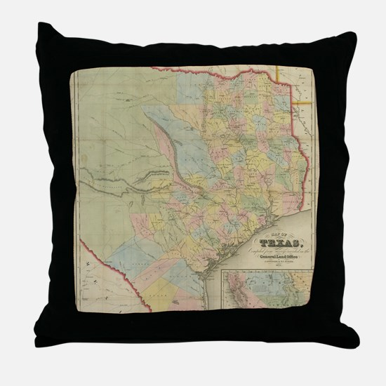 1851 Map of Texas Throw Pillow