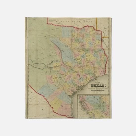 1851 Map of Texas Throw Blanket