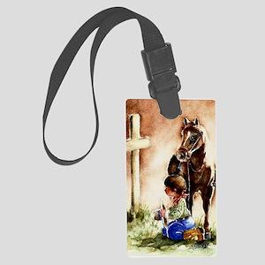 Cowboy praying Large Luggage Tag