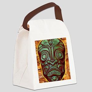 BlueGreenStoneTiki2 Canvas Lunch Bag