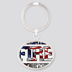 volunteer firefighter 4 Oval Keychain