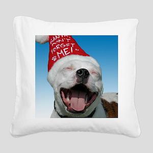 JOY Christmas Card Outside Fi Square Canvas Pillow