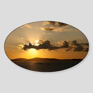 Mykonos Sunset Sticker (Oval)