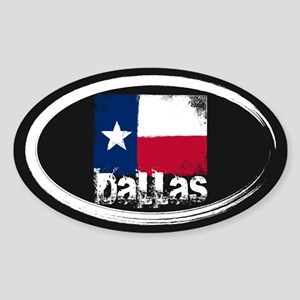 Dallas Grunge Flag Sticker (Oval)